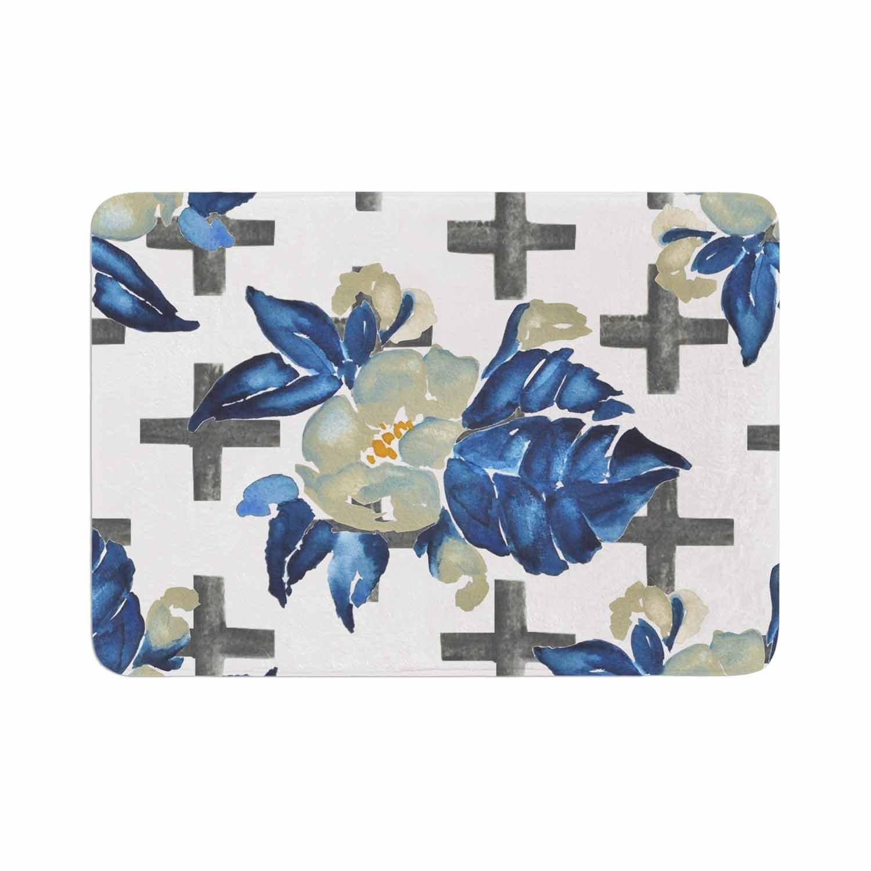 Kess InHouse Jennifer Rizzo Plus Sign Blue Green Floral Memory Foam Bath Mat 17 x 24