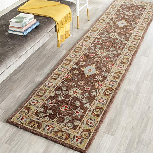 Safavieh Anatolia Collection AN562A Handmade Traditional Oriental Brown and Gold Wool Runner (2'3