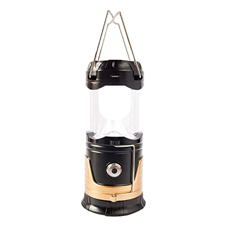 Skycandle LED Solar Emergency Light Lantern + USB Mobile Charging+Torch Point, 2 Power Source Solar, Lithium Battery, Travel Camping Lantern (Black)