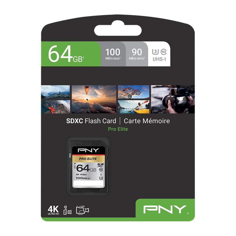 U3 64 GB, SDXC, Clase 10, UHS-I, 100 MB//s, Class 3 PNY Pro Elite Memoria Flash 64 GB SDXC Clase 10 UHS-I Tarjeta de Memoria
