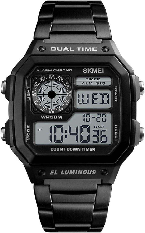 Relojes Digital Cuadrado Multifuncional Relojes Hombre Cronómetro Alarma Relojes Acero Inoxidable Negro Casual