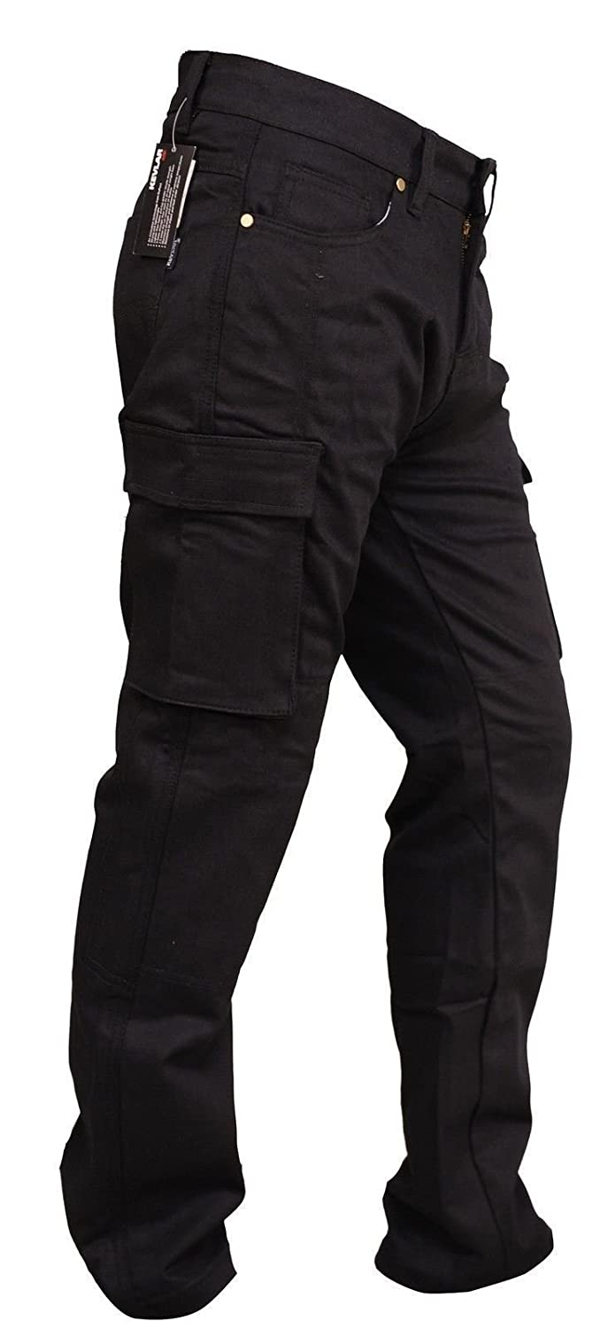 Bikers Gear Australia Protective Kevlar Lined Black Cargo Motorcycle Trousers Kevlar Jeans with CE 1621-1 5 Piece Removable Armour 44R 5XL