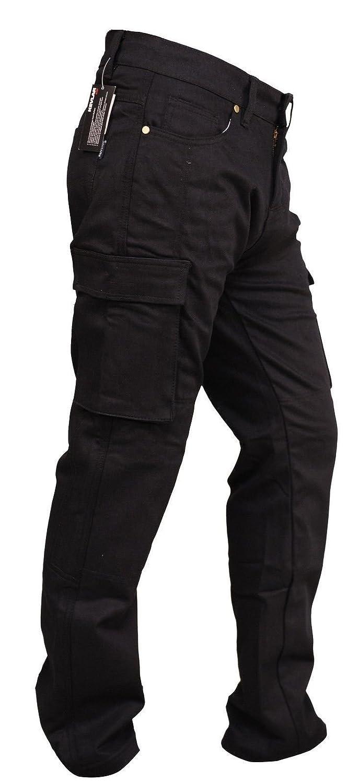 Bikers Gear Australia ABG Kevlar Schwarz CE-Protektoren Motorrad-Jeans//Cargo-Hose