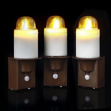 Comer Zar Luz nocturna LED con PIR Sensor Detector de movimiento, led velas funciona con