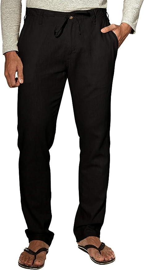 Match-stick Mens Slim Linen Casual Pants