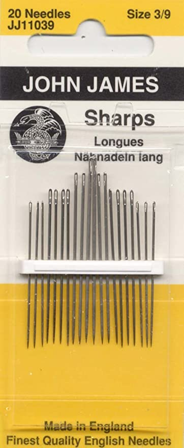 5 x 20 Sharps Hand Sewing Needles Embroidery Size 3//9