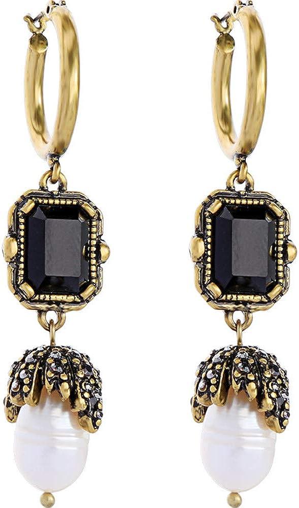 ZRDMN Pendientes colgantes Dangler Eardrop Joyas para mujeres Pendientes de perlas de piedras preciosas geométricas negras Pendientes de moda