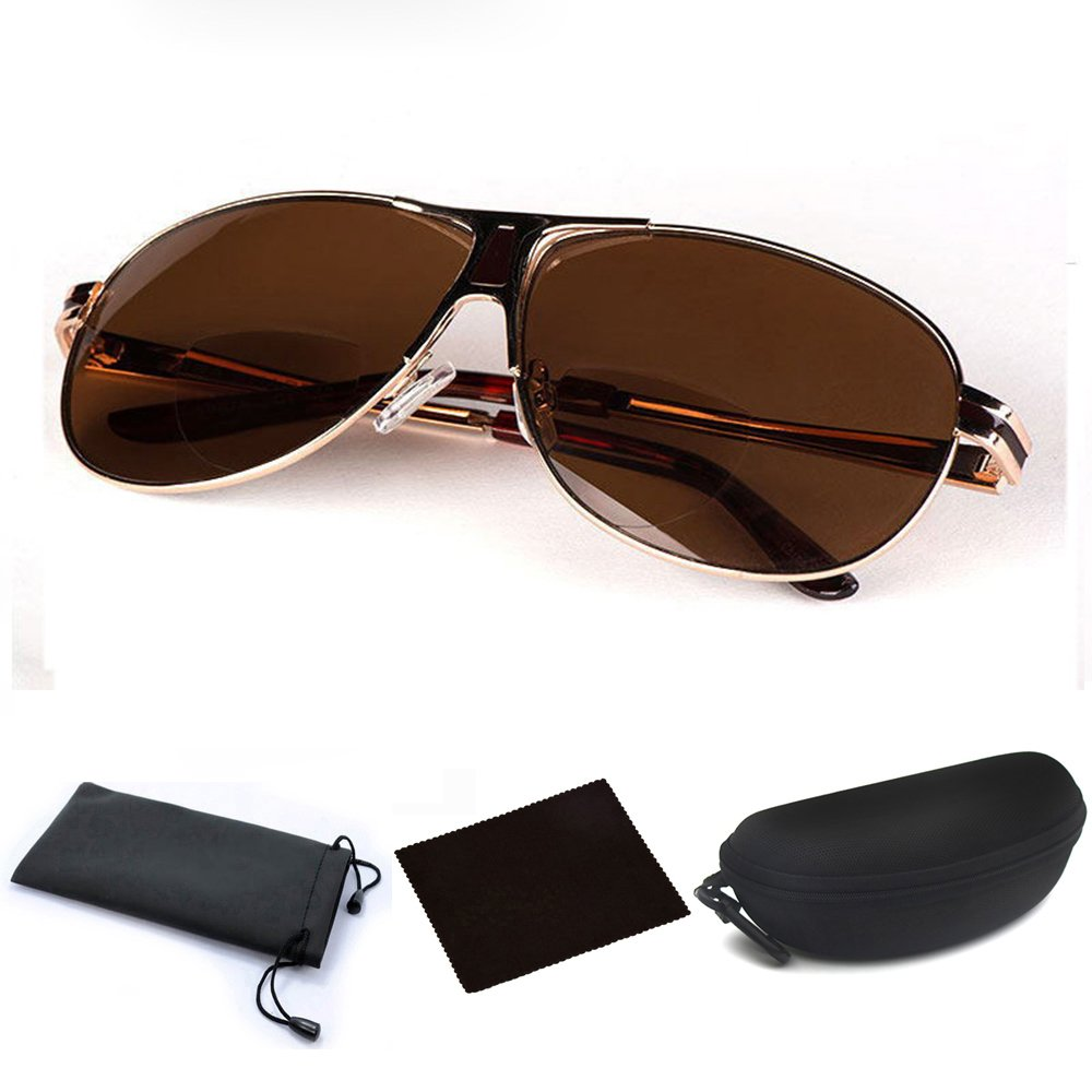 Amazon.com  Aviator Bifocal Lightweight Sun Reading Glasses Sunglasses Readers  Sun Readers Classic Sunreaders with Case for Men Women Beach Reading  Playing ... 697dc9541c