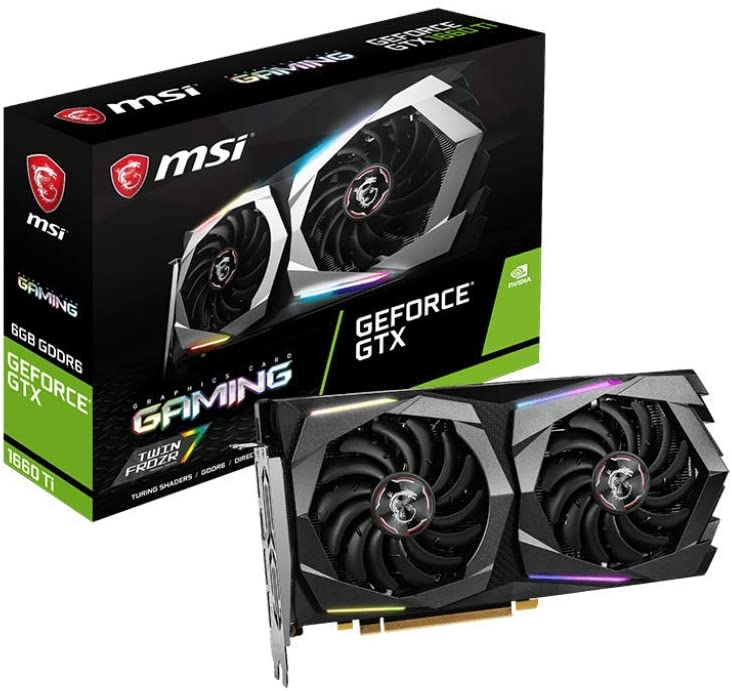 MSI Gaming GeForce GTX 1660 Ti 192-bit HDMI/DP 6GB GDRR6 HDCP Support DirectX 12 Dual Fan VR Ready OC Graphics Card (GTX 1660 Ti Gaming 6G)