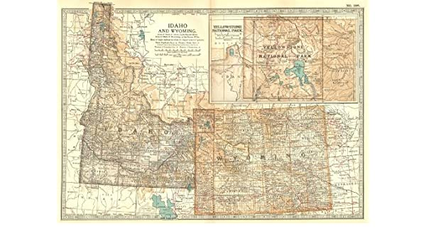 Amazon Com Idaho Wyoming State Map Showing Counties Inset