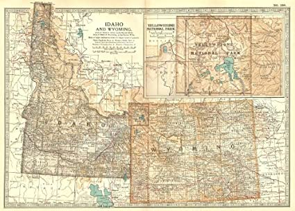 Amazon.com : IDAHO & WYOMING. State map showing counties. Inset ...
