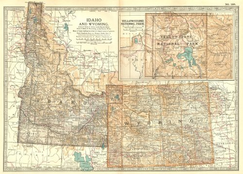Idaho & Wyoming. State map Showing Counties. Inset Yellowstone Park - 1903 - Old map - Antique map - Vintage map - Printed maps of Idaho ()