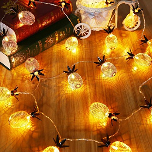 Pineapple Decor Light Battery Powered 10 LED Fairy String Lighting for Christmas Home Wedding Party Bedroom Birthday Decoration (Warm -