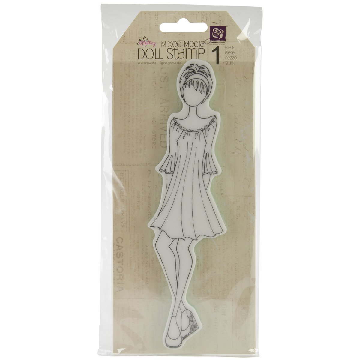 Doll with Peasant Dress Prima Marketing Mixed Media Doll Cling Rubber Stamps