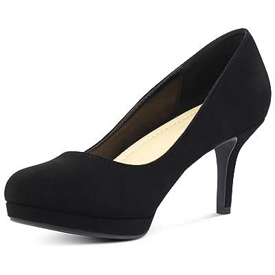 AFFORDABLE FOOTWEAR Women's Almond Toe High Heels Dress Shoes Memory Foam Cushion Comfort Pumps | Pumps