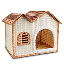 7Life Natural Bamboo Dog House Crates for Dogs, Cats, and Other Small Pets - Portable Folding Kennel for Pets indoor & Outdoor Summer Use(Double-brown)