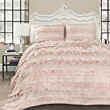 3pc Pink Ruffled Stripes Pattern Quilt Full Queen Set, Bright Blush Color, Elegant HighEnd Ruffles Textured Lines Design, French Country Shabby Chin, Supreme, Unisex