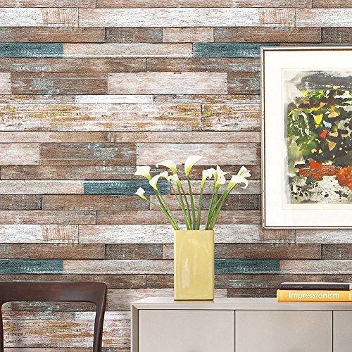 NEW Vintage Wood Wallpaper Rolls Blue/Beige/Brown Wooden Plank Murals Home Kitchen Vinyl - Sites Indian Purchase Online