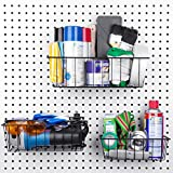 "Pegboard Basket Set - 3 Pack - Hooks to 1/4"" Hole Peg Board - Better Tool Organization - Organize Tools, Workbench, Accessories, Garage Storage - Wall Organizer Attachments, Black Wire Pegboard Basket"