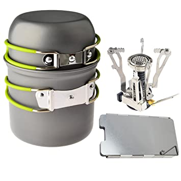 foxom Picnic al aire libre cocina cocinar herramienta juego de olla cacerola + encendido piezoeléctrico bote estufa + aluminio Deflector de viento para ...