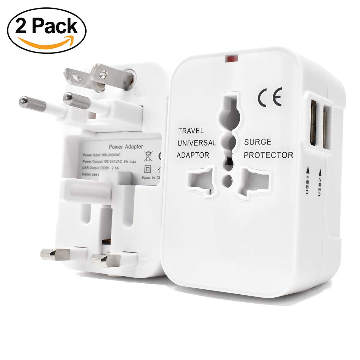 International Universal All in One Worldwide Travel Adapter Wall Charger AC Power Plug Adapter with Dual USB Charging Ports for USA EU UK AUS European Cell Phone Laptop | 2 Pack Family Deal (White)