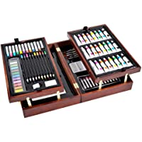 Vigorfun Deluxe Art Set in Wooden Case, with Soft & Oil Pastels, Acrylic & Watercolor Paints, Water Color, Sketching, Charcoal & Colored Pencils, Watercolor Cakes and Tools Wooden