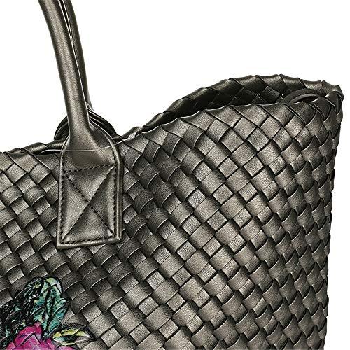 Mode Xuanbao Femmes Sac Main féminine Couleur à Femmes tissé Argent bandoulière la Main Sac Sac Stockage Femmes à Sac Main Sac Main à à Tout fourre Fleur à Grey Silver bandoulière Section transversale RrqWIrtUn