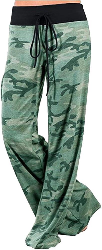 Yuandian Mujer Casual Cordon Impresion Cintura Baja Yoga Amplios Pantalones Palazos Moda Dama Anchos Fluidos Pierna Ancha Pantalon Ropa Pantalones
