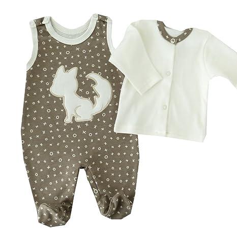 Conjunto de camiseta & Pelele marrón estampado blanco con zorro marrón y blanco Talla:68