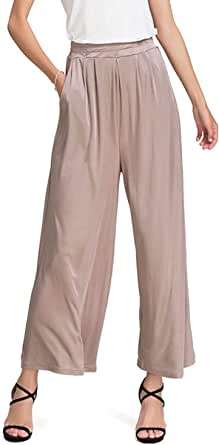 Zylioo Women`s Mulberry Silk Stretchy Wide Leg Palazzo Lounge Pants with Pockets