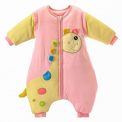 Saco de dormir para bebé con piernas, cálido forro de algodón de invierno y manga