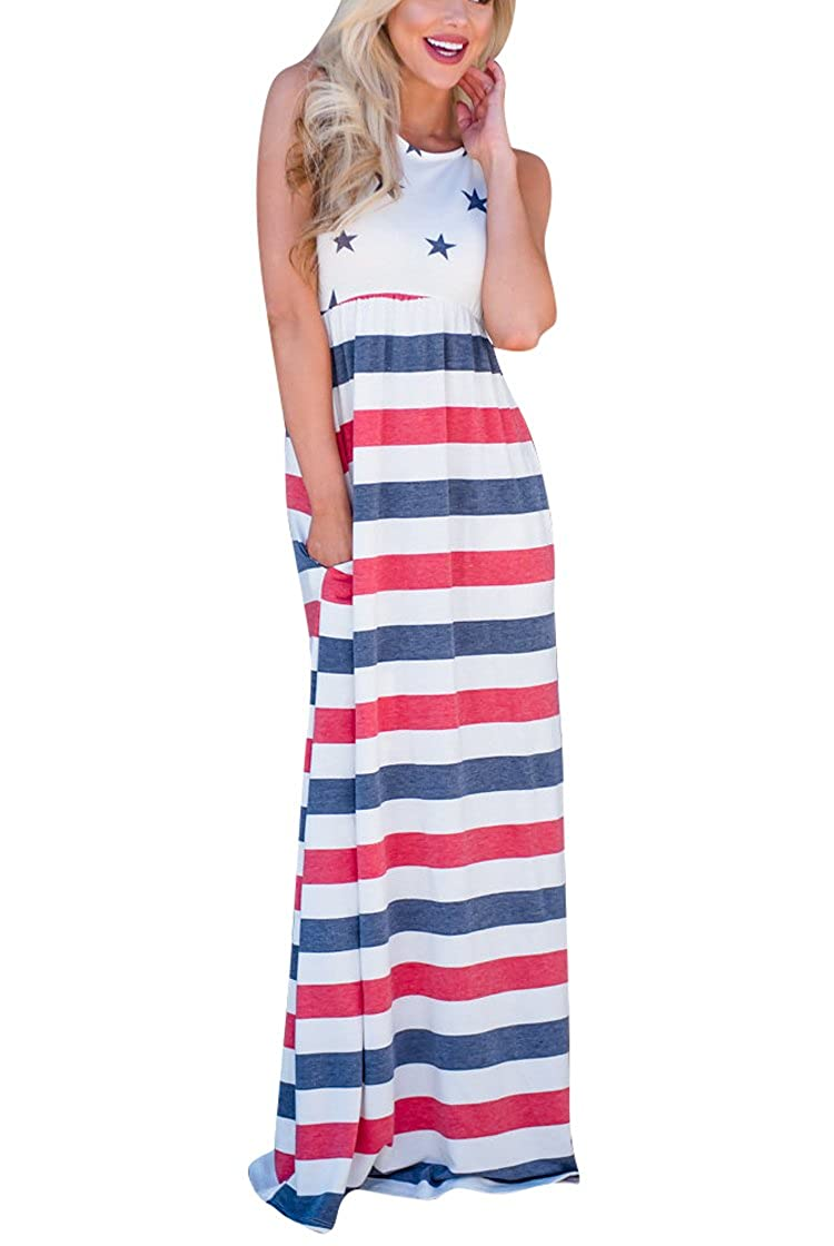 17a18d96dc71 Vintage American flag print, sleevess, O-Neck, patriotic strapless tank  long dress. Great dressing for 4th July. Blue, Red and White mixed color  with Star ...