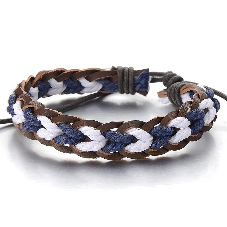 Mens Ladies Multicolor Braided Leather Bracelet Genuine Leather Wristband Wrap Bracelet