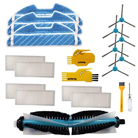 Accesorios para Cecotec Conga 1390 Cecotec Conga 1290 Robot Aspirador Repuestos Paquete de 6 filtros Hepa, 6 cepillos Laterales, 2 Herramientas de ...