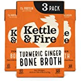 Kettle and Fire Turmeric Ginger Chicken Bone Broth, Keto, Paleo, and Whole 30 Approved, Gluten Free, High in Protein and Coll