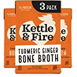 Turmeric Ginger Chicken Bone Broth by Kettle and Fire, Pack of 3, Keto Diet, Paleo Friendly, Whole 30 Approved, Gluten Free,
