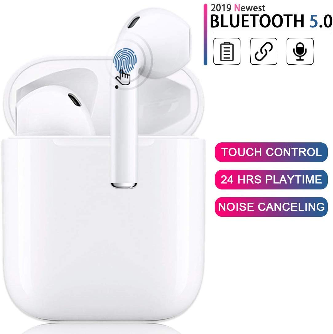 Bluetooth 5.0 Wireless Earbuds with Fast Charging Case Waterproof HiFi Stereo Headphones in-Ear Built-in Mic Headset Premium Sound with Deep Bass for Apple Airpods Bluetooth Headsets