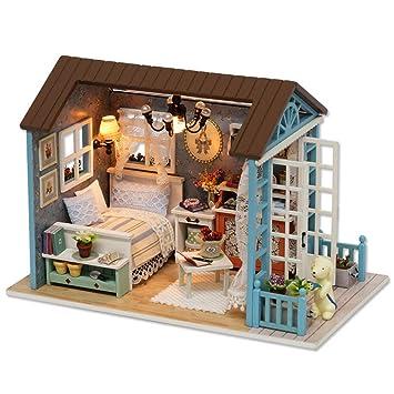 DIY Wooden Dolls House, Amphia DIY 3D Blue Princess
