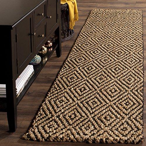 2'3 x 8' Brown Tan Geometric Runner Rug Rectangle, Black Diamond Pattern Hallway Carpet Southwest Theme Carpeting Rustic Themed for Entryway Living Area Entrance Way Kitchen, Jute Fiber