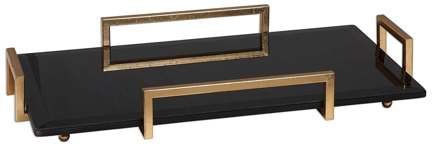 Uttermost 20057 Ettore Glass Tray Black and Gold