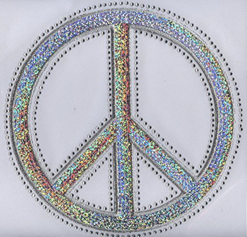 Peace Sign - Silver - Sequin and Rhinestone Iron on - Peace Sign Sequin