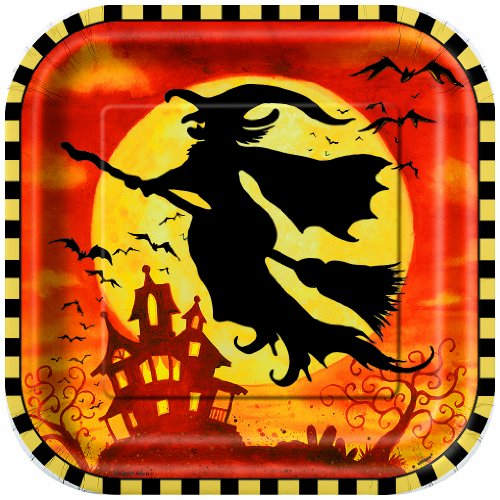Square Spooky Hollow Halloween Dinner Plates,