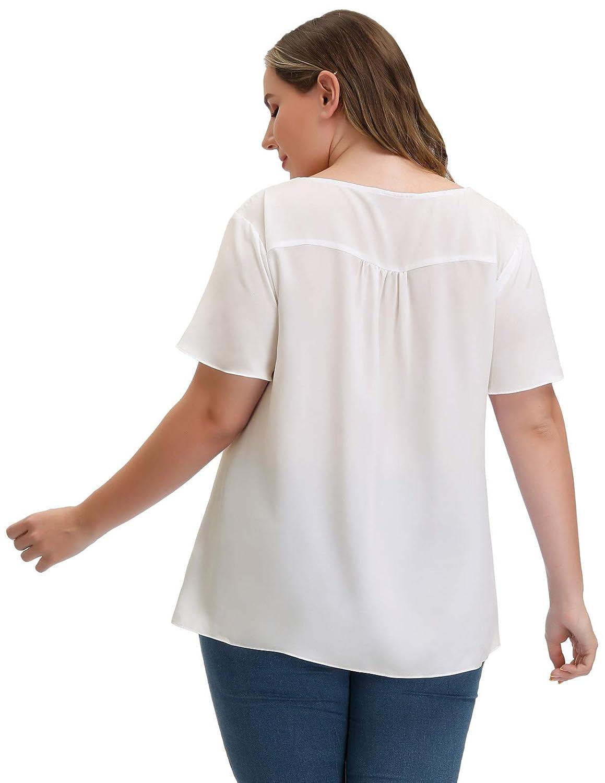Amazon.com: Blusa de gasa para mujer, manga corta, parte ...
