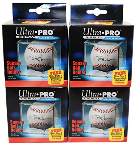 - 4 Ultra Pro Square BASEBALL DISPLAY Holder w/Stand New Lot Set [4 Baseball Cubes]