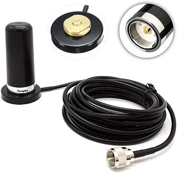 TengKo NMO de Doble Banda de Alta Ganancia de la Antena para la Radio móvil UHF VHF 400-470 136-174MHZ y Soporte Base magnética para radios móviles ...