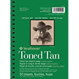 Strathmore 400 Series Toned Tan 5.5''x8.5'' Warm Tan Smooth 118 GSM Paper, Long-Side Spiral Bound Album of 50 Sheets