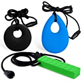 Kalevel Sensory Chew Necklace for Boys Girls 3 Styles Silicone Chewing Necklace Pendant Teething Stick for Autism, ADHD, Baby Nursing or Special Needs (A Set)