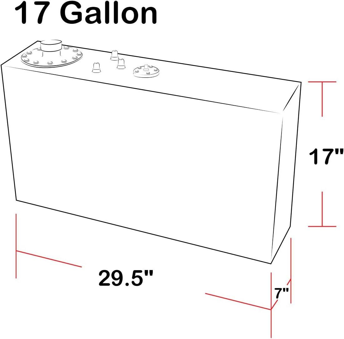 17 gal DNAMotoring ALU-FT-B-TF-17G-BK Aluminum Top Feed Fuel Cell Gas Tank