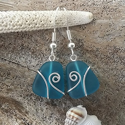 Handmade in Hawaii,wire wrapped teal blue sea glass earrings, sterling silver hooks, Hawaiian Gift, FREE gift wrap, FREE gift message, FREE shipping - Handmade Wire Wrapped Earrings