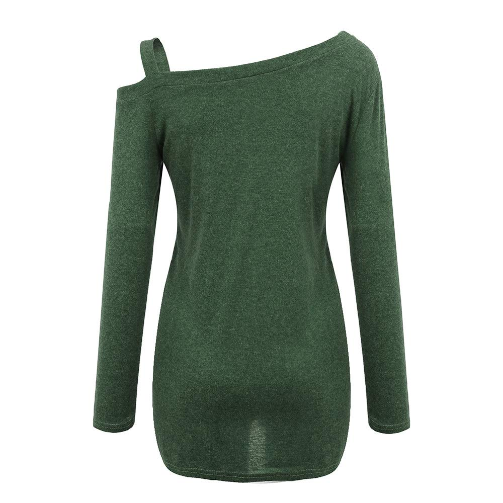 Goosuny Damen Pullover Casual Weiche Crew Neck Langarm T-Shirt Bluse Stylische Locker Einfarbig Oberteil One-Shoulder Pullis Sweatshirt Warme Tops Sch/öne Pullover Winterpulli